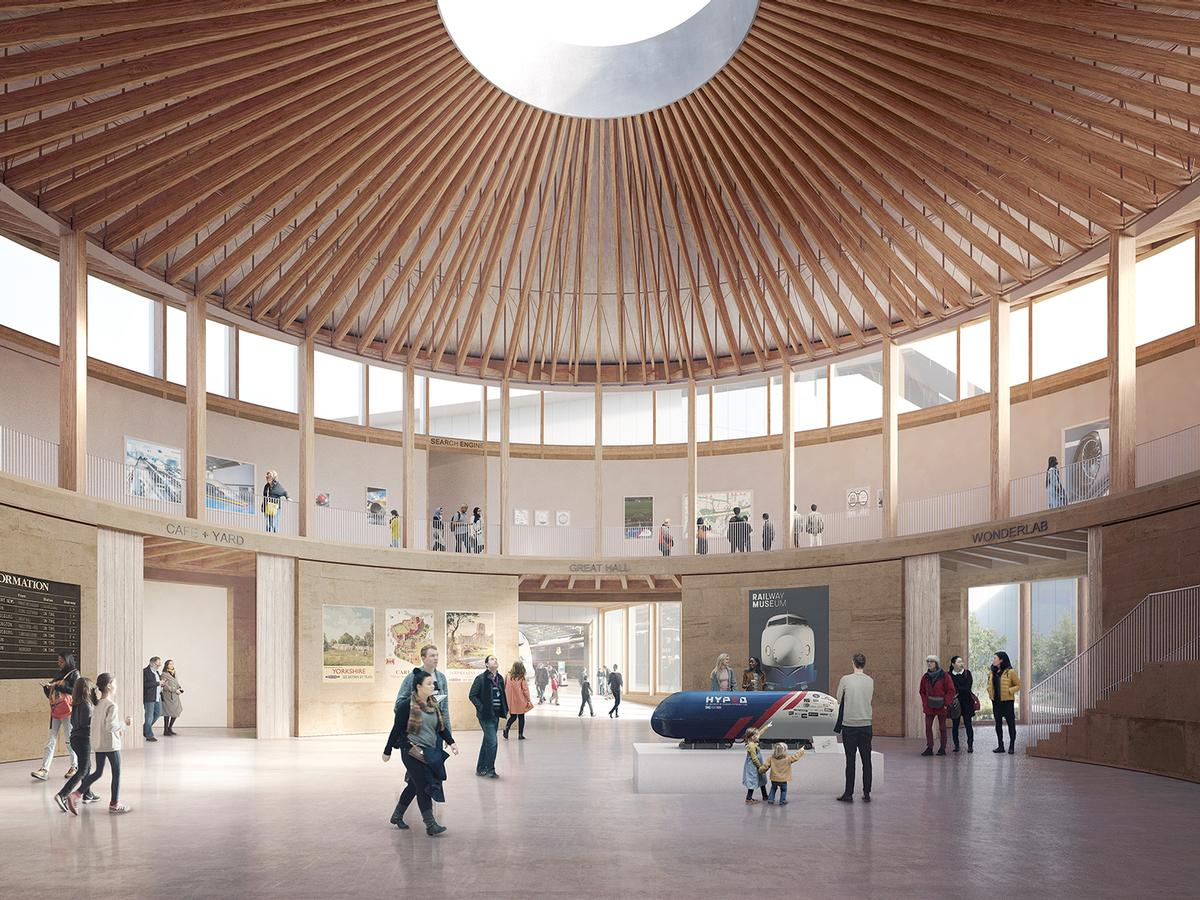 The building's ceiling will be 'stitched together with radials of UK-sourced Douglas Fir' / Feilden Fowles