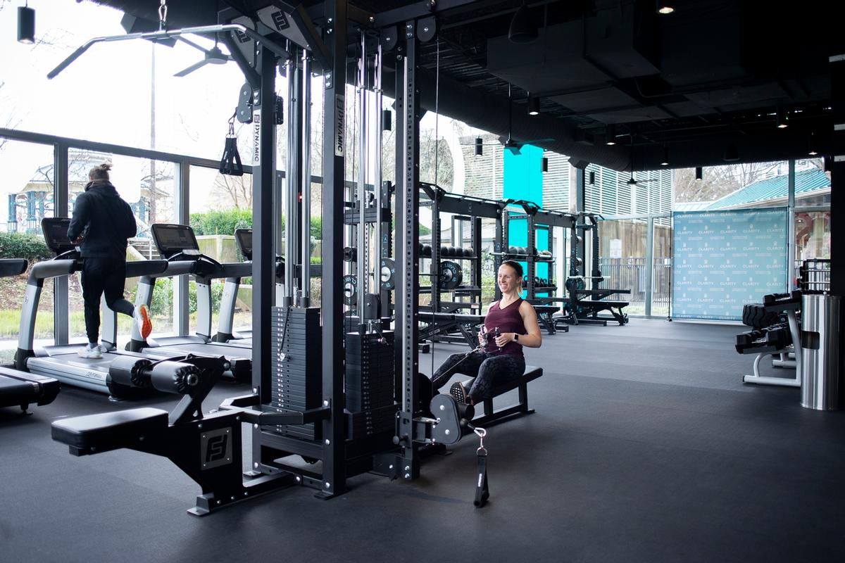 The gym covers an area of 7,000 sq ft (650sq m)
