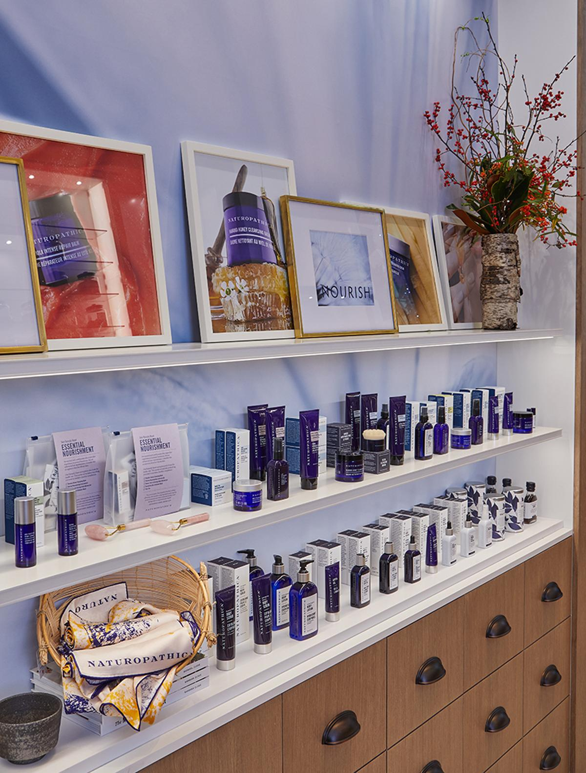 Visitors to the wellness centre may browse the brand's professional strength skincare products which are organised by practice: Clear, Nourish, Defy and Chill