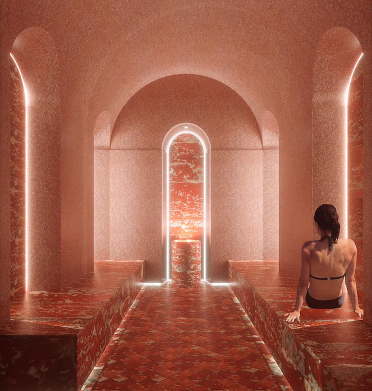 Studio Apostoli will use cedarwood, French red marble, onyx and mosaic, gold finishes and cashmere fabrics to recall the ancient destination of Palazzo Bernasconi
