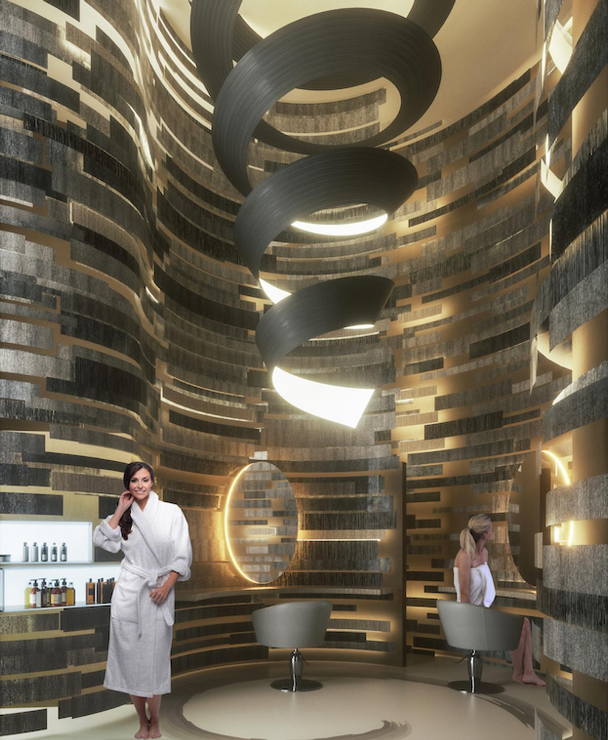 Both separate-sex facilities will offer an ice waterfall, a large two-level sauna, two multi-sensory showers and a steambath