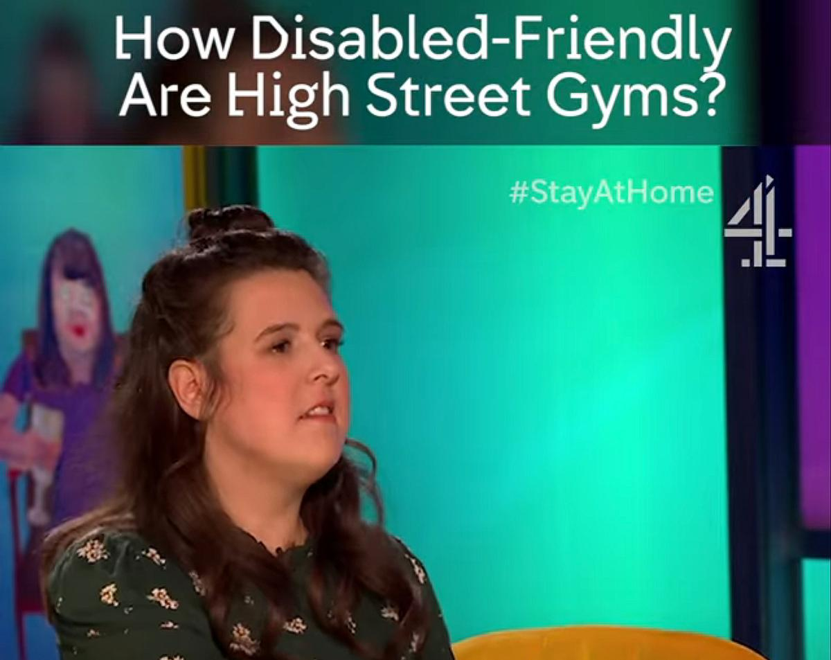 Jones, who has cerebral palsy, was asked to investigate disabled access to gyms in the latest episode of Joe Lycett's Got Your Back / Channel4