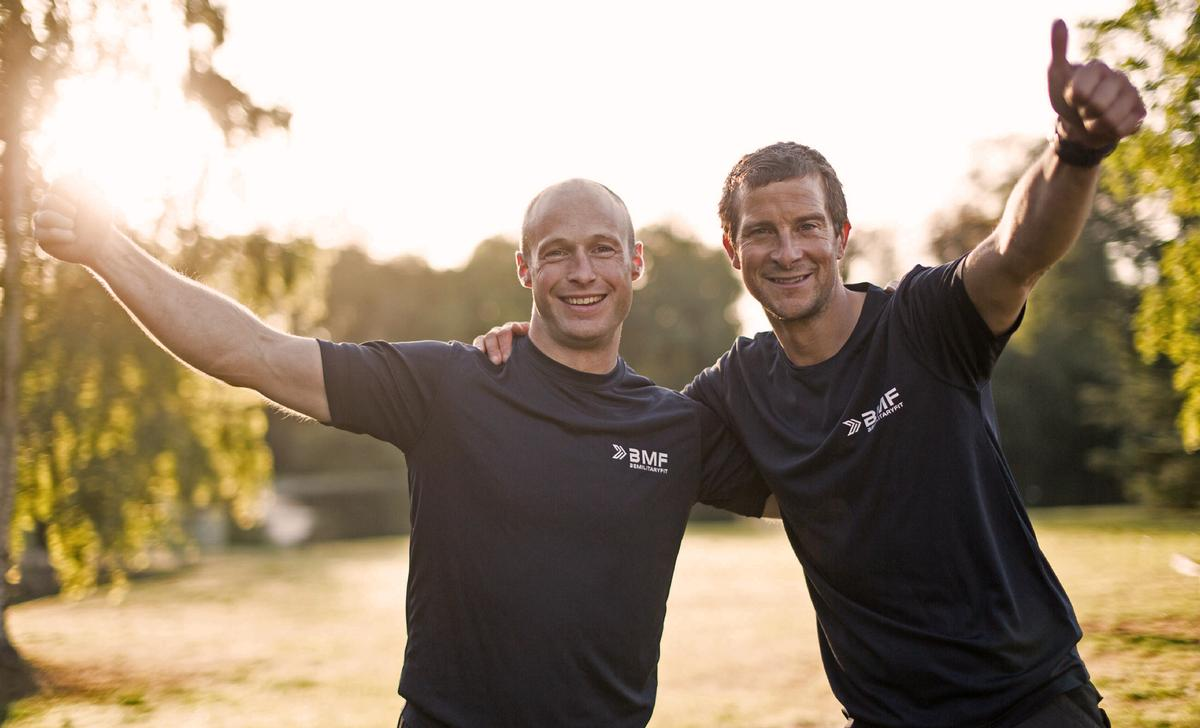 The workouts will be hosted by Bear Grylls (right) and supported by Tommy Matthews, a BMF Master Trainer / uakctive/BMF