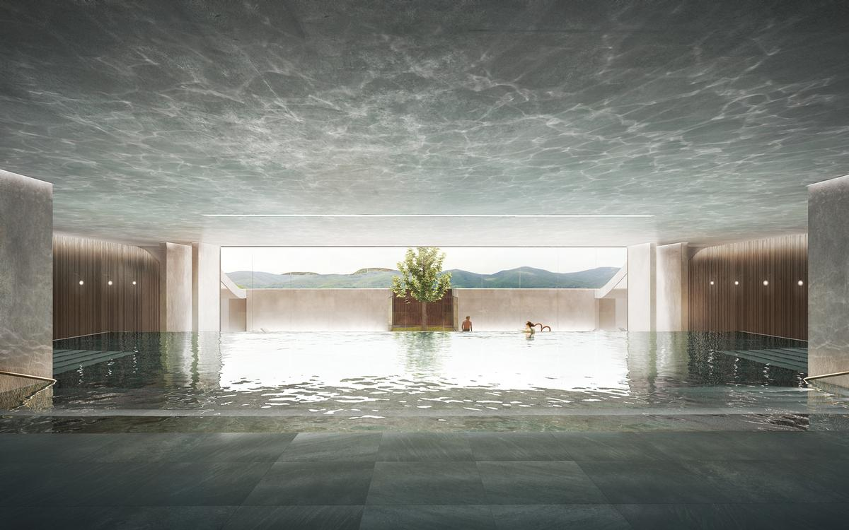 The adults-only spa building is designed to be partially underground
