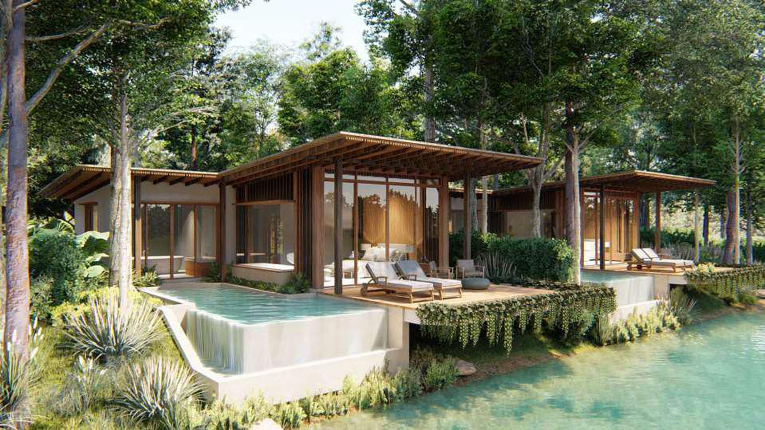 The resort's accommodation offering will consist of 298 two- or three-bedroom solar-powered villas designed by Habita Architects together with Arsom Silp Institute of the Arts