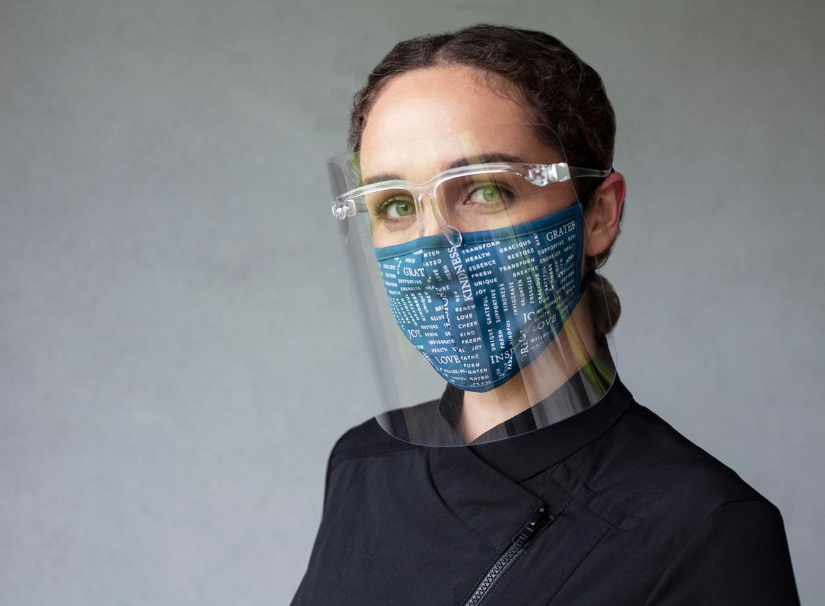 The face shields are reusable and recyclable / Noel Asmar Uniforms