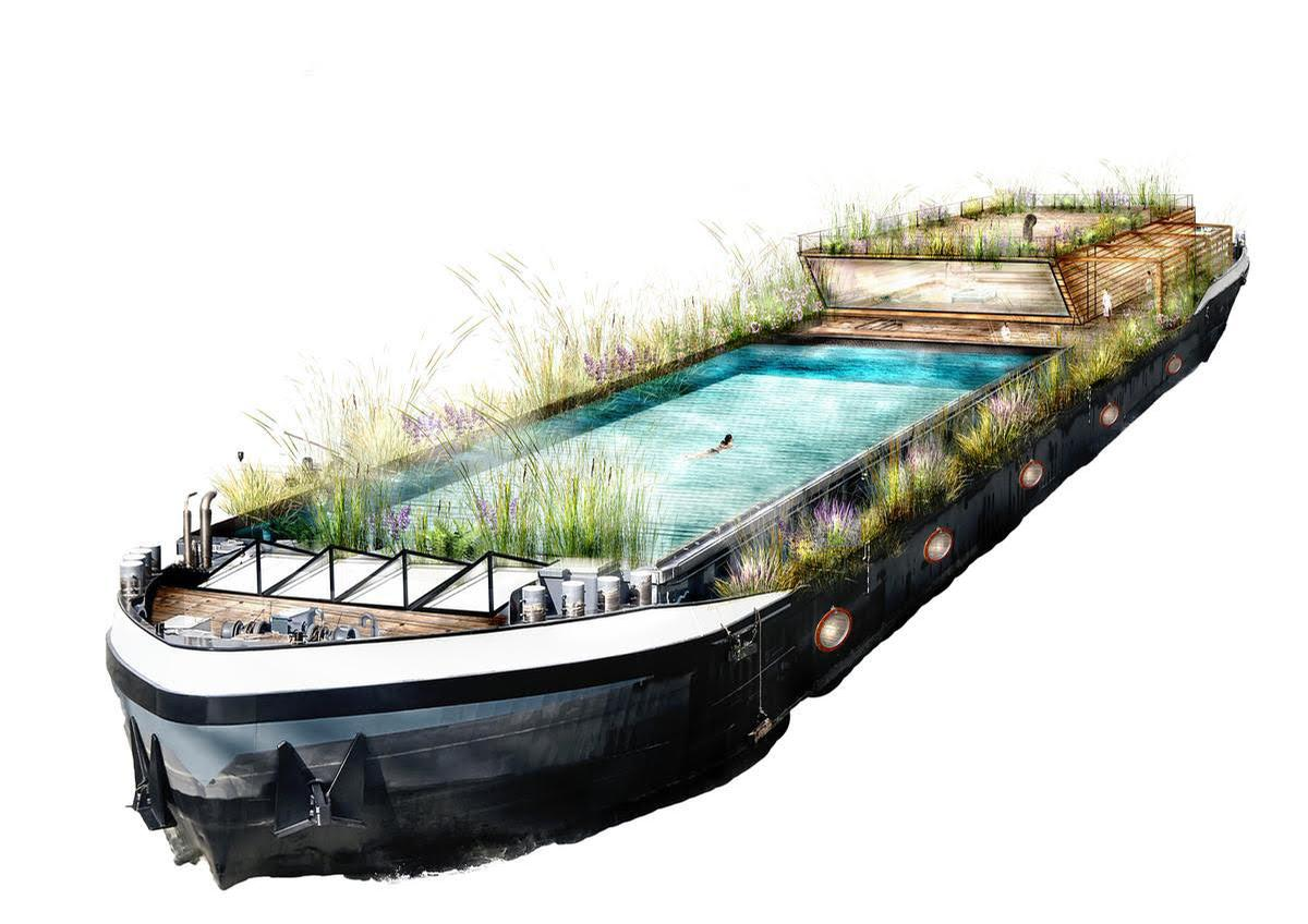 The pool has been designed to nestle into the barge's existing cargo hold / Water Cures Spa