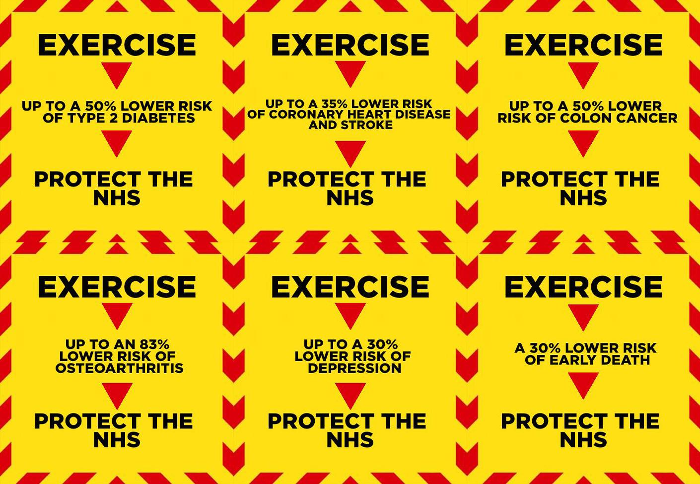 The posters, carrying the message of 'Exercise – Protect the NHS' were created by Daniel Ward / Daniel Ward
