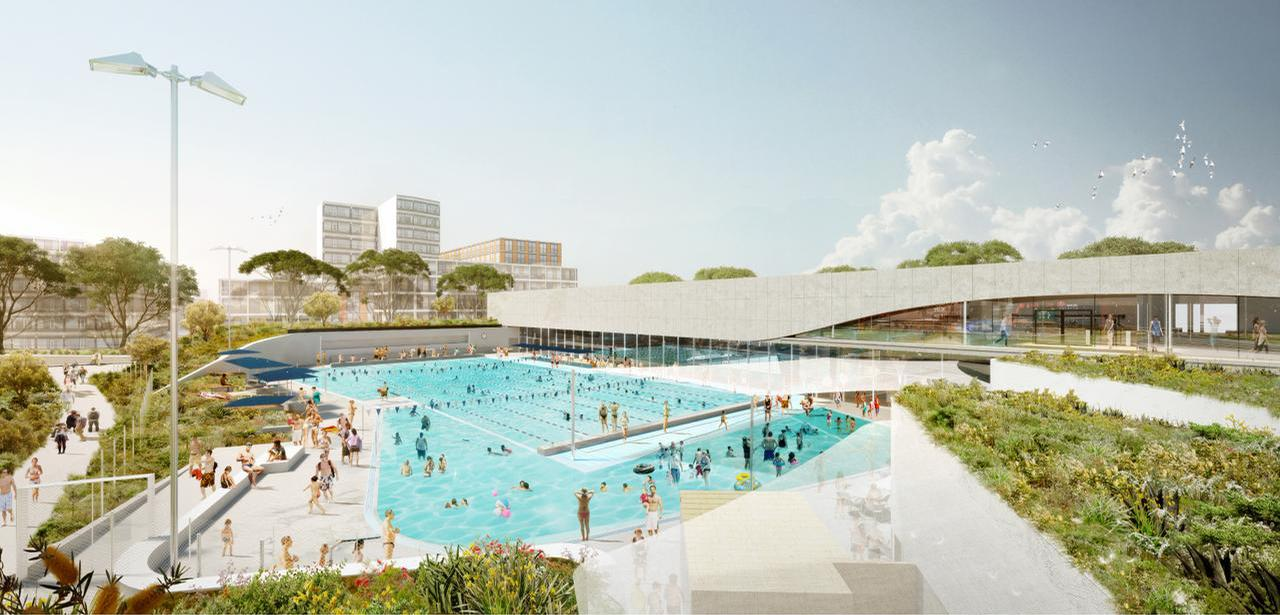 The complex will feature, among others, a 50m heated outdoor pool set within a larger, irregular shaped 'beach pool' / City of Sydney/Andrew Burges Architecture/Grimshaw/TCL