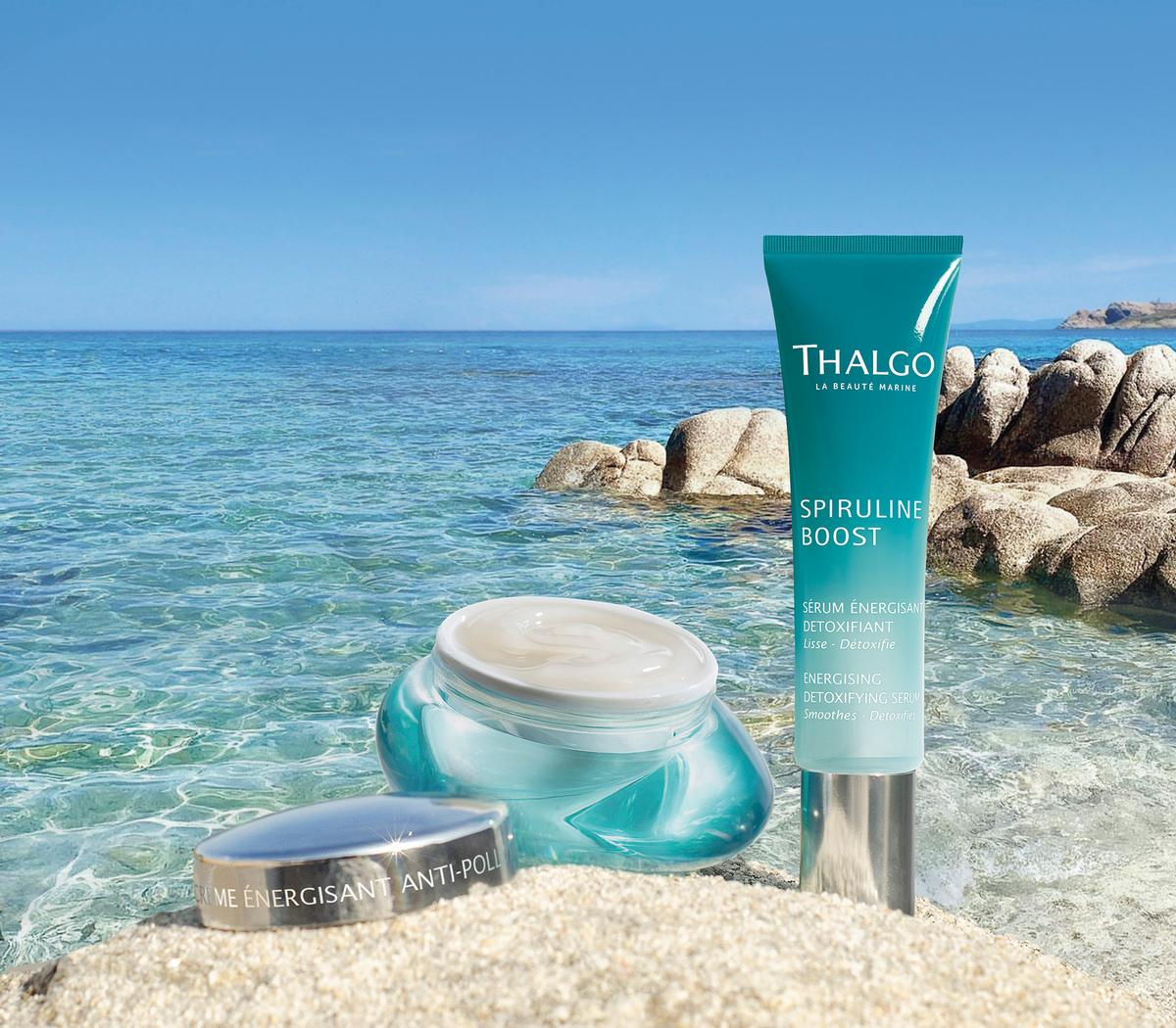 The collection features a detoxifying serum, anti-pollution gel-cream and an energising eye gel / Thalgo