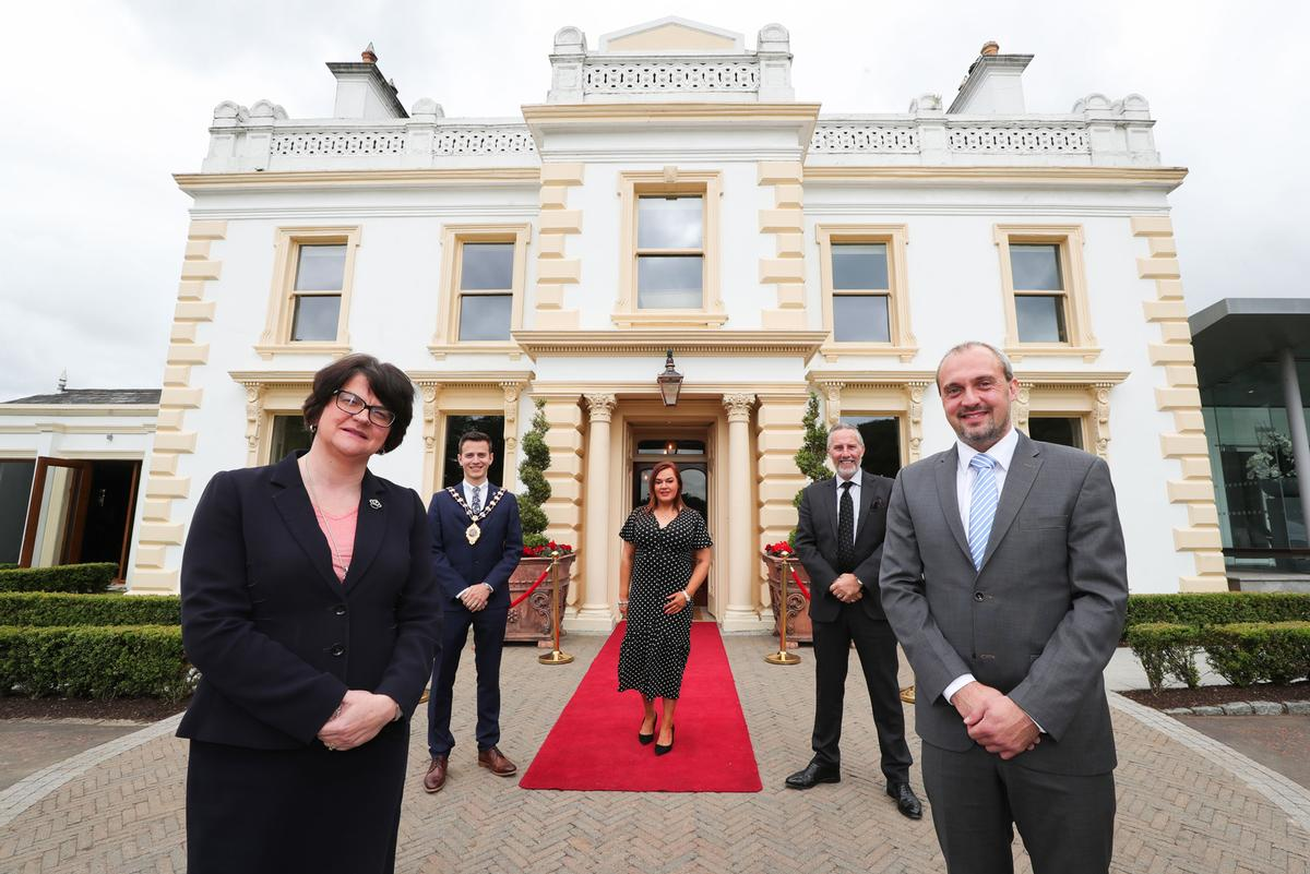 Norther Ireland's First Minister Arlene Foster (L) has 'welcomed' Galgorm resort's reopening / Galgorm Spa and Golf Resort
