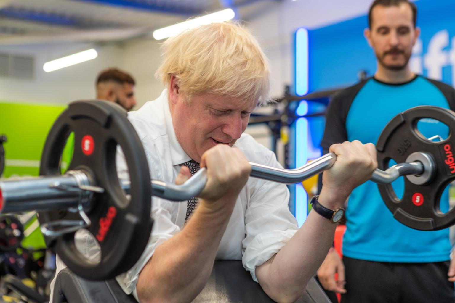 Johnson's appearance on a gym floor is in keeping with his new-found determination to tackle the UK's obesity crisis / Barney Harrison/LinkedIn/The Gym Group