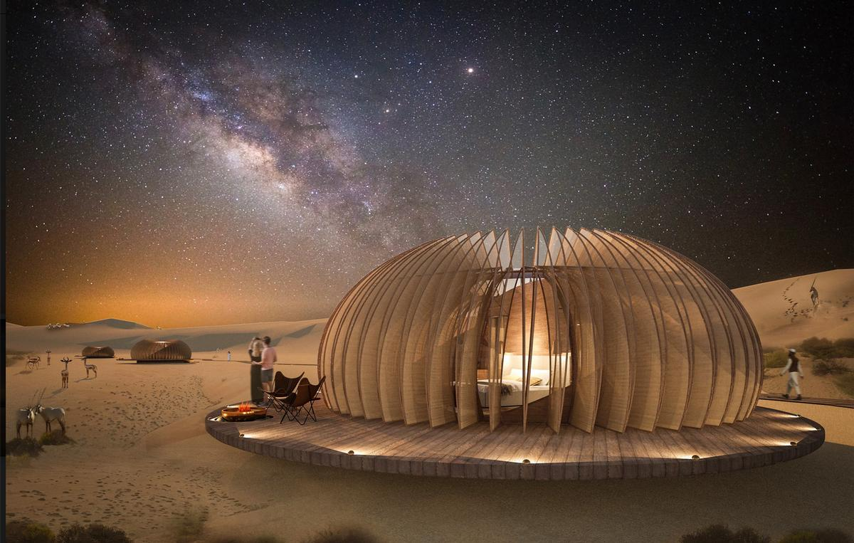 Called the Oculus, the pods consist of a double-glazed dome encasing a luxury hotel room, which is shrouded by a collapsible shell / AIDIASTUDIO
