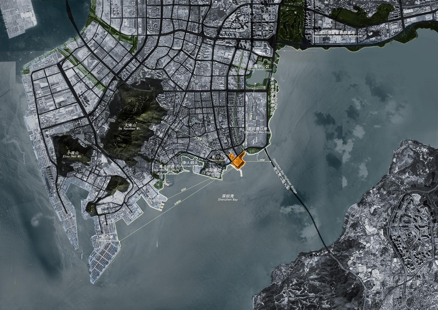 The opera house project will extend into the sea resembling a peninsula, overlooking Hong Kong to the south across Shenzhen Bay / Bureau of Planning and Natural Resources of Shenzhen Municipality