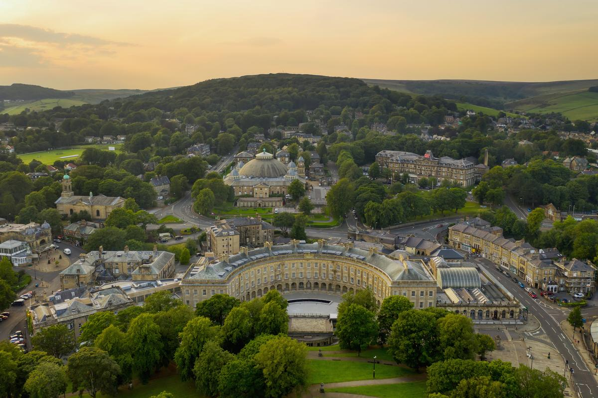 Buxton is renowned for its natural mineral waters which have historically been used for hydrotherapy / Buxton Crescent Hotel