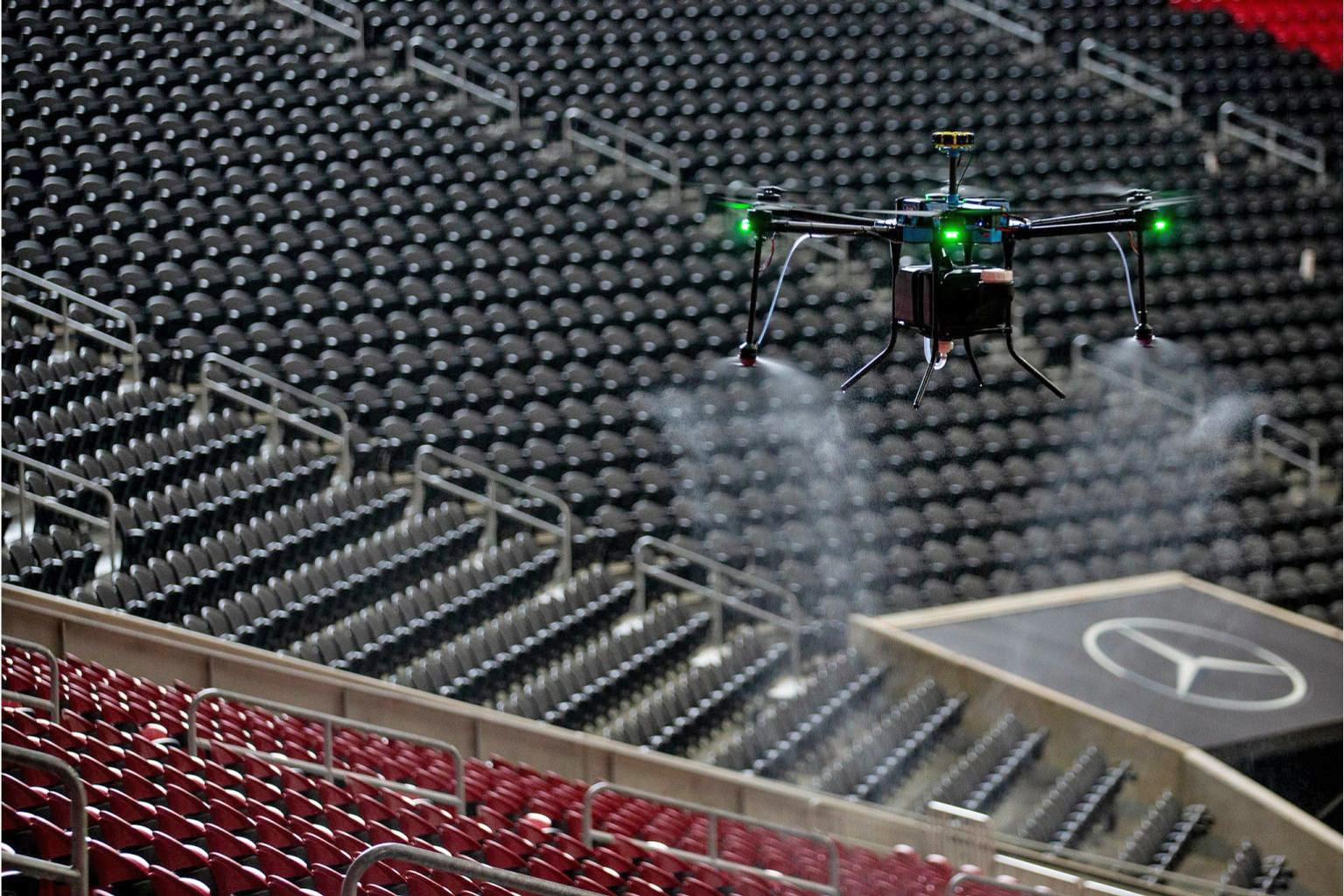 The purpose-built D1 drones feature electrostatic spraying nozzles and 2.5-gallon tanks, which can be filled with cleaning or sanitising solutions / Mercedes Benz Stadium/AMB Sports and Entertainment