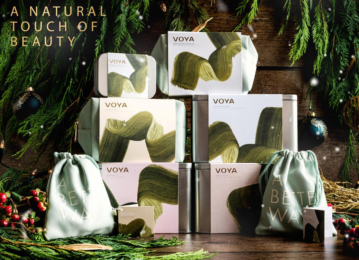 Paired with a design that was created with the tactile and sensory in mind, the soft hand-painted brush strokes flow in the same way as VOYA's signature organic wild seaweed / VOYA