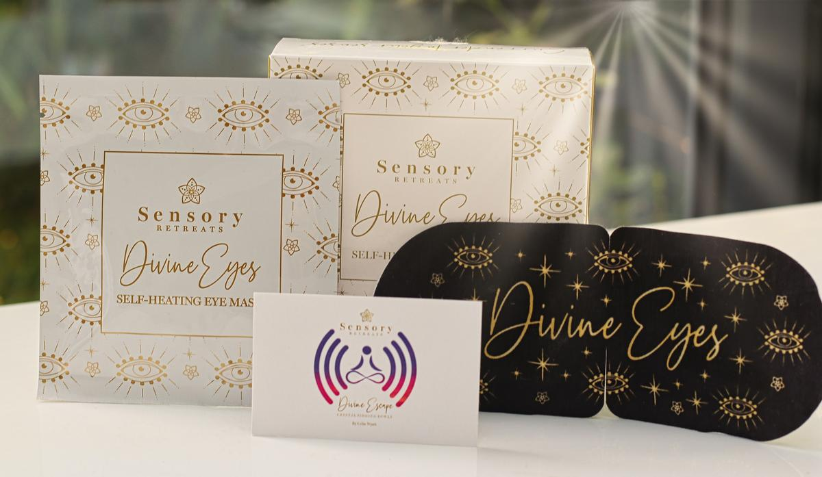 A Divine Eyes box, priced at £21 (US$27 €23), includes seven masks and an 85-minute crystal sound healing music track