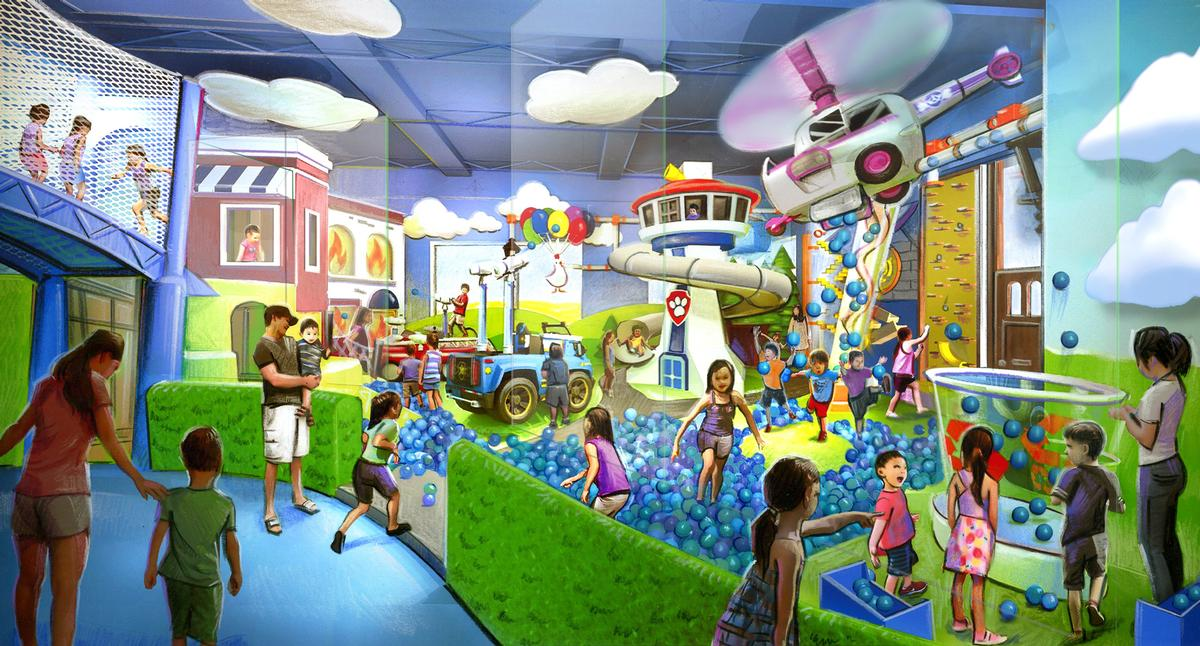 The attractions are centred around active and immersive play and include drop slides, themed soft play areas, foam pits, interactive games, climbing walls and playground obstacle courses / Jack Rouse Associates
