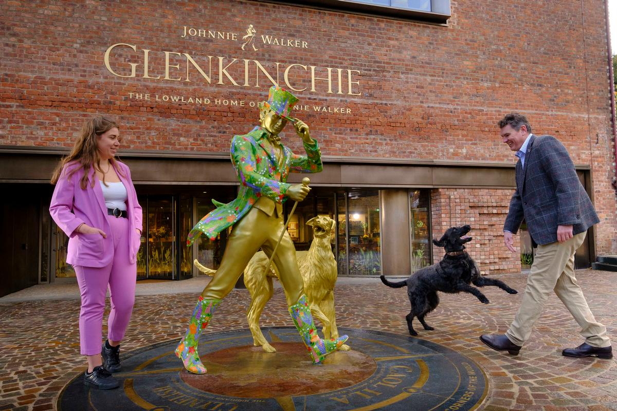 Johnnie Walker's famous 'striding man' has been reimagined to welcome visitors. / Diageo