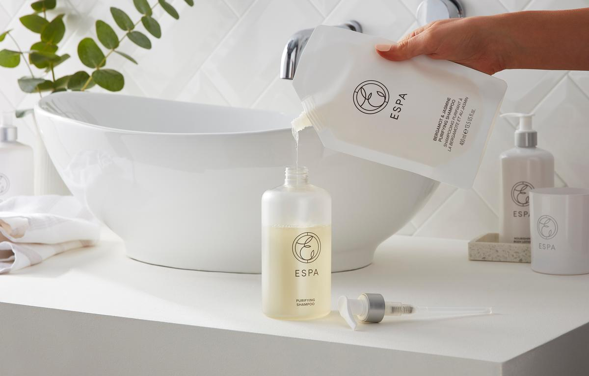 Six out of the nine products have accompanying refill pouches which reduce plastic waste by up to 60 per cent in comparison to a regular plastic bottle / ESPA