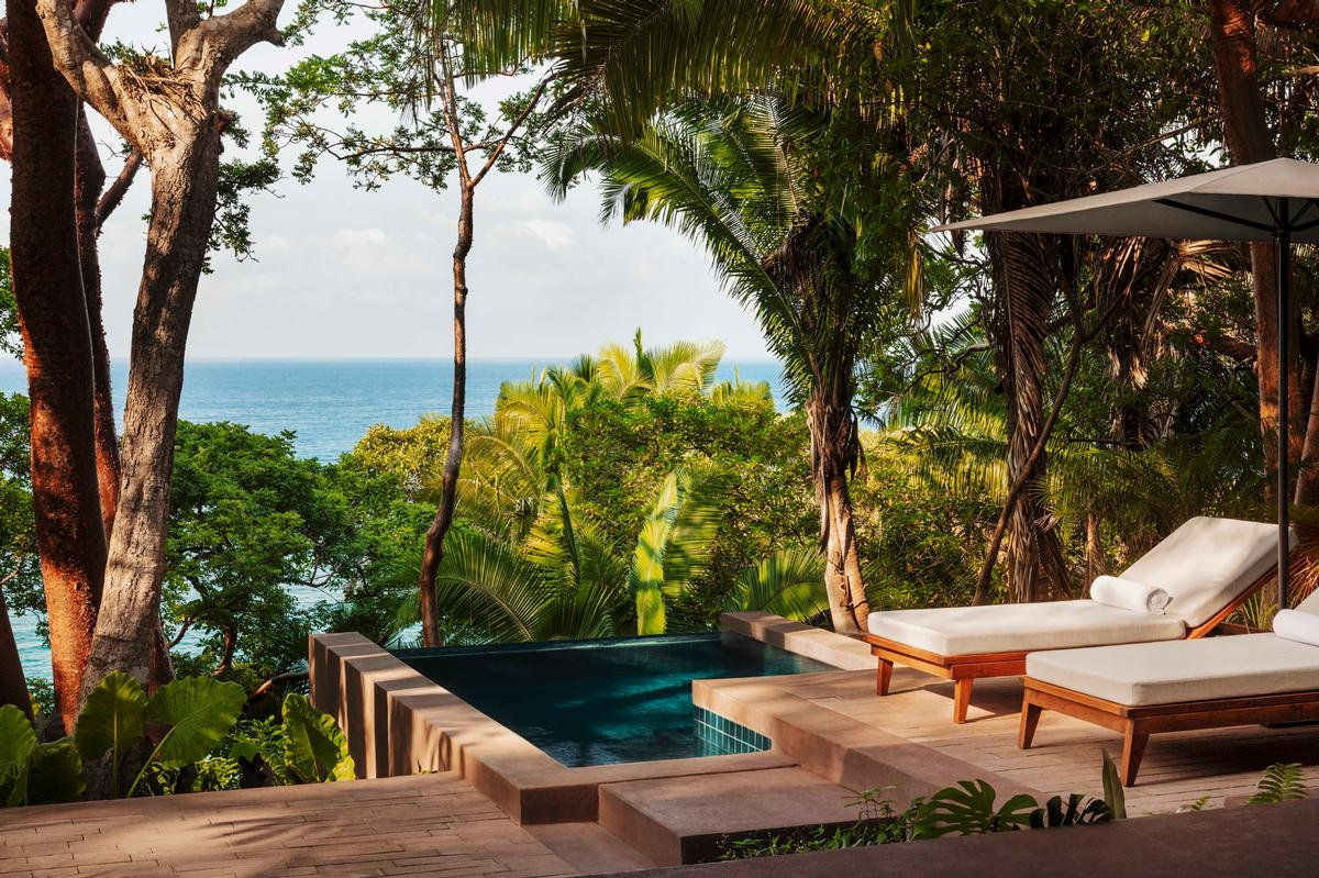 Overlooking the Pacific Ocean with a beachfront rainforest setting, One&Only Mandarina features 105 secluded eco-designed treehouses and cliff-top villas / One&Only Mandarina