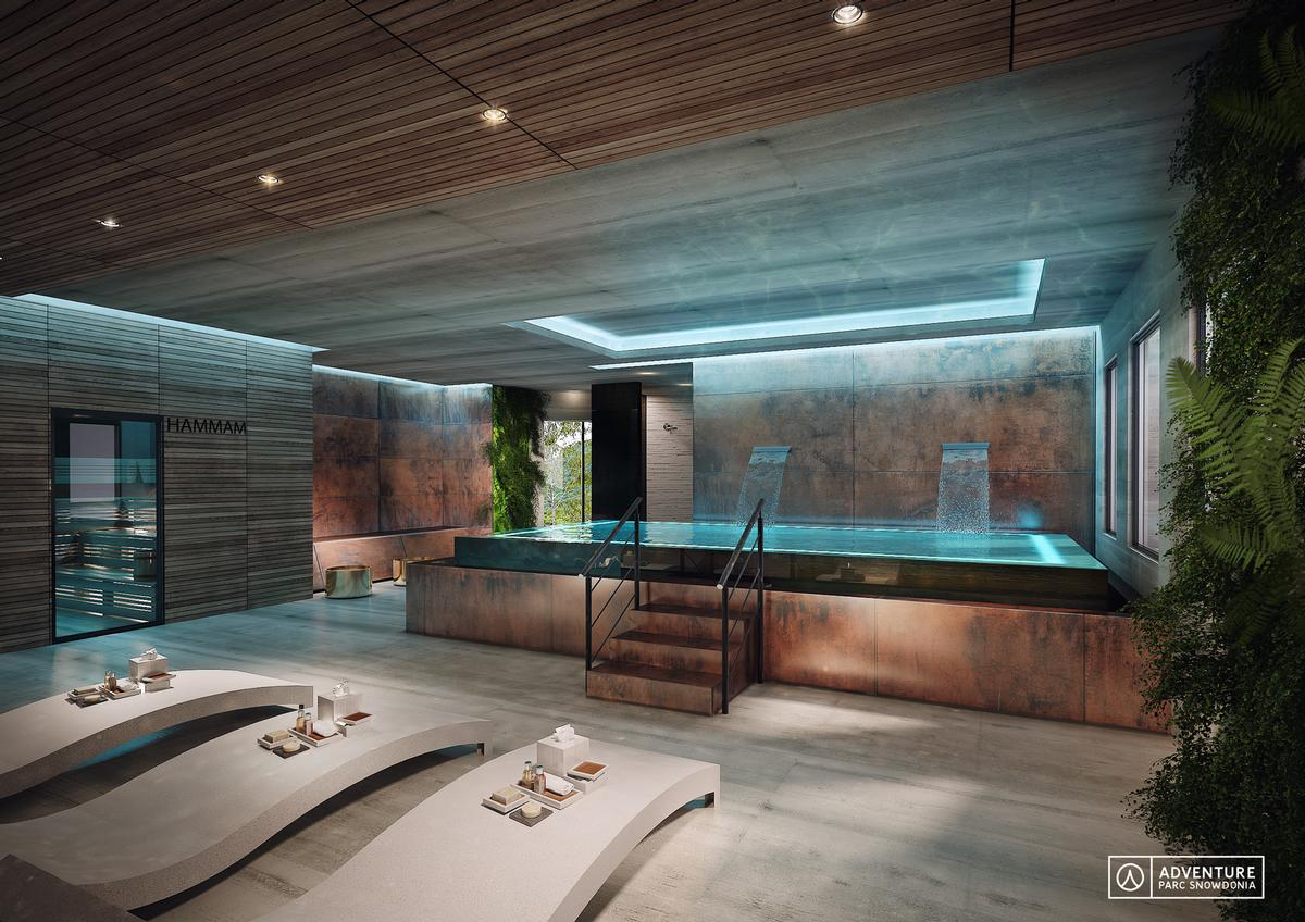 Inside the spa, a fragrant thermal journey will welcome visitors with a vitality waterfall pool, steamroom, hammam and Himalayan salt sauna