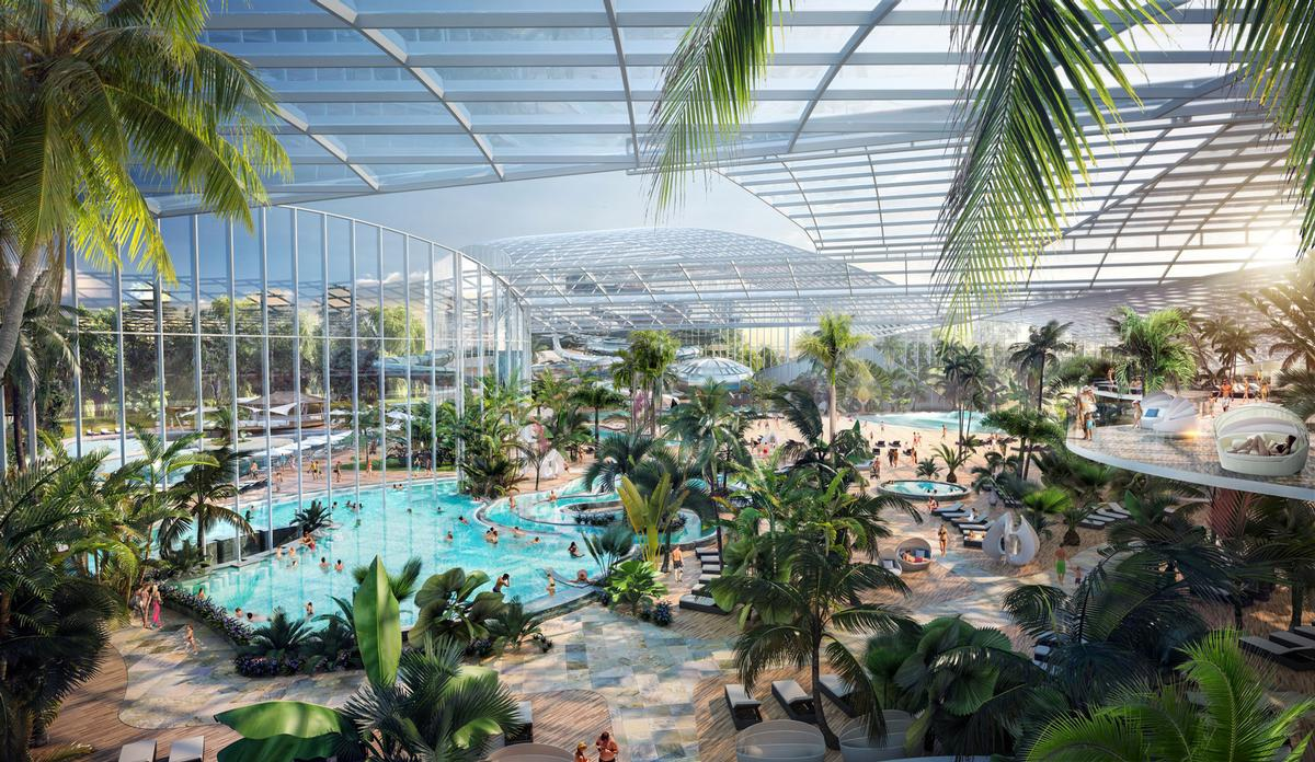 Therme Manchester is a £250m (US$333m, €274.3m) waterpark and spa project scheduled to be completed in 2023 / Therme Group