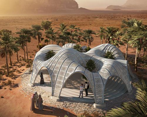 The pavilion was conceived in part as a model for building structures on Mars, with the landscape of the site being a close match for the planet / Brick Visual