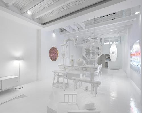 Pieces of furniture were upcycled to fit the all-white theme