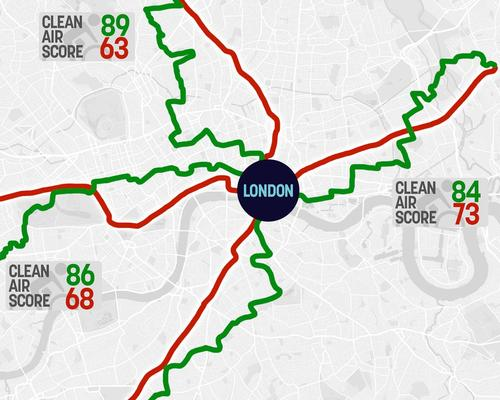 TENZING's Clean Air Tracker gives users a live Air Quality Score for their route