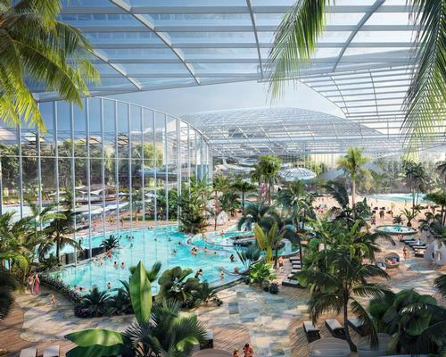 The £250m (US$308.6m, €274.4m) waterpark and spa project will combine hundreds of water-based activities with wellbeing treatments / Therme Group
