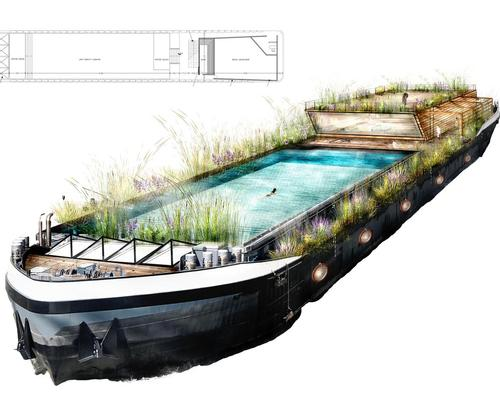 The pool has been designed to nestle into the barge's existing cargo hold