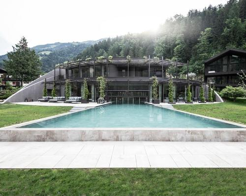 noa* reimagines alpine wellness retreat to merge seamlessly with mountain landscape #noa* #ApfelhotelTorgglerhof #Torgglerhof #spa #wellness #design #architecture #SouthTyrol #Italy