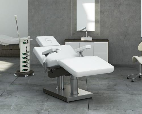 The electronic chair can accommodate a range of treatments, including facials, massages, pedicures, manicures, make-up or hair care applications