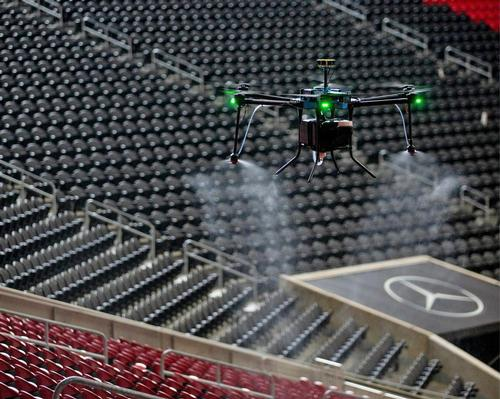 The purpose-built D1 drones feature electrostatic spraying nozzles and 2.5-gallon tanks, which can be filled with cleaning or sanitising solutions