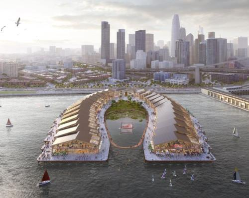 The Cove has been designed to provide a new hub of activity for the city and the horseshoe-shaped plans include modular, shed-like structures / Pier30.com/Heatherwick Studios