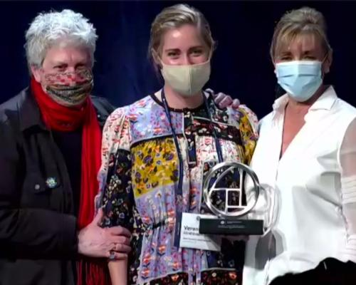 Nancy Davis (L) and Susie Ellis (R) presented the award live on stage at the 2020 event in Florida