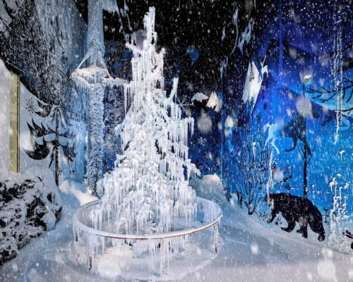 Swarovski is using the natural snowfall in its Chamber of Wonder which includes a Silent Light crystal tree designed by Alexander McQueen and Dutch designer Tord Boontje