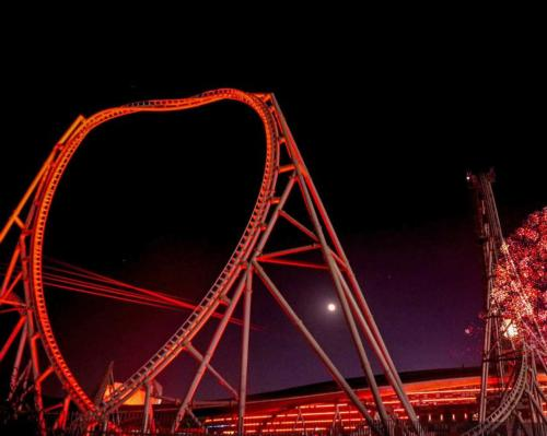 The new Zip Line will see guests travel from the heart of Ferrari World through the Flying Aces roller coaster loop