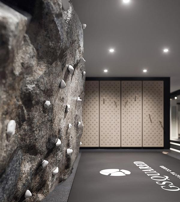 The climbing wall and assault course have been installed to bring variety and natural movement to workouts / photo: Gsquared