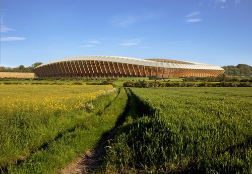 The 5,000-seat venue will be built near the UK town of Eastington / Zaha Hadid Architects/Forest Green Rovers FC