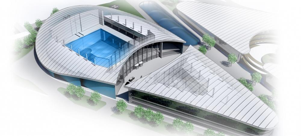 A sliding roof and 30-tonne crane will allow large objects to be lowered into the pool / Blue Abyss