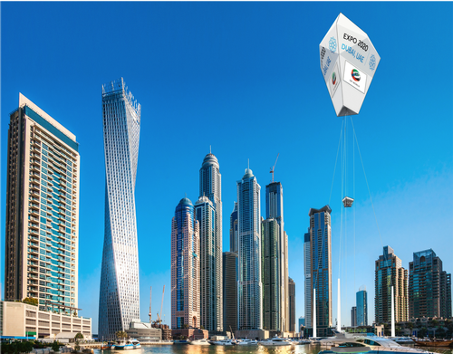 Diamond balloon concept merges tourist attraction with advertising billboard