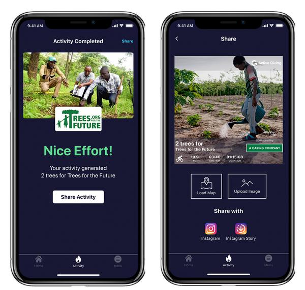 The Active Giving app connects users with environmental projects / © Active Giving