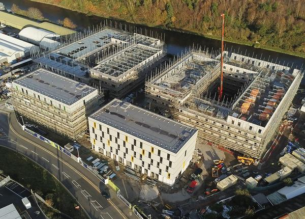 Bricks Group is on-site with new developments across the UK in the student accommodation, residential and gym markets. Shown here, the site in Swansea / photo: bricks group