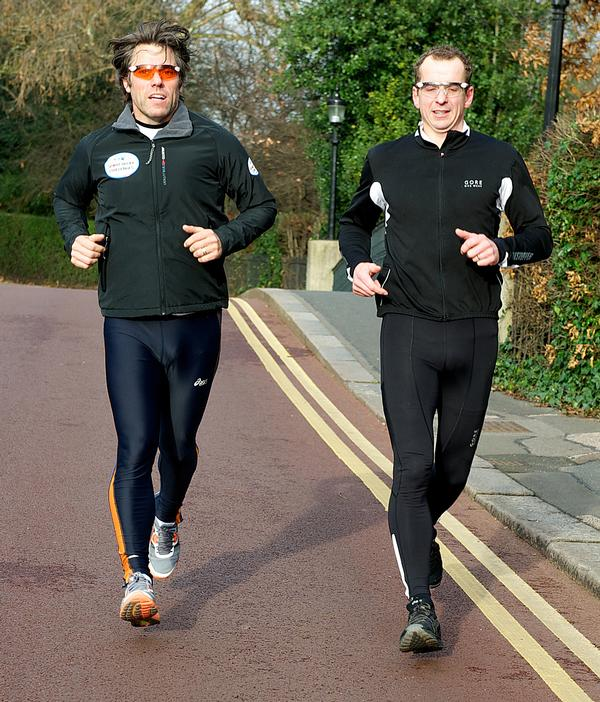 In 2012, John Bishop (L) completed a 290-mile triathlon for Sport Relief
