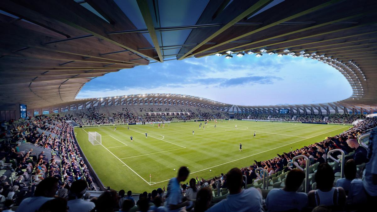 The stadium will be built entirely out of sustainably sourced timber / Zaha Hadid Architects/Forest Green Rovers FC