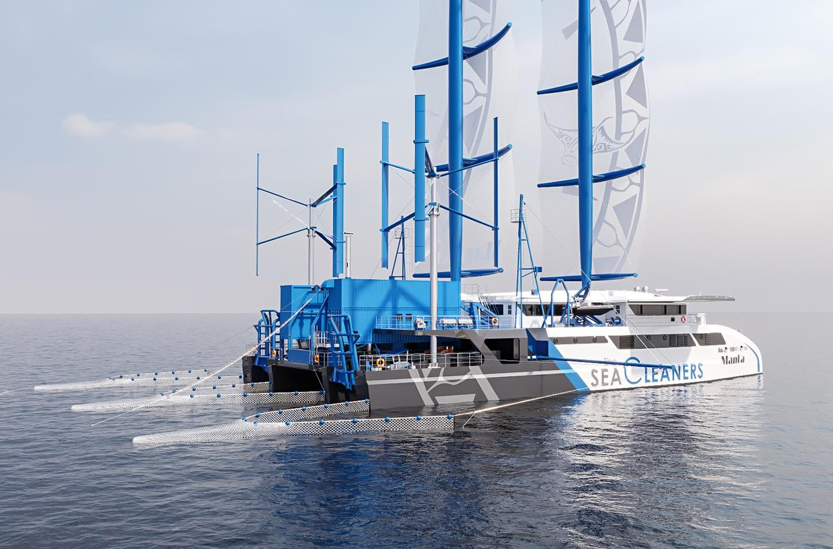 The 55-metre ship will sail 300 days a year and has a goal to collect 3 tonnes of plastic an hour