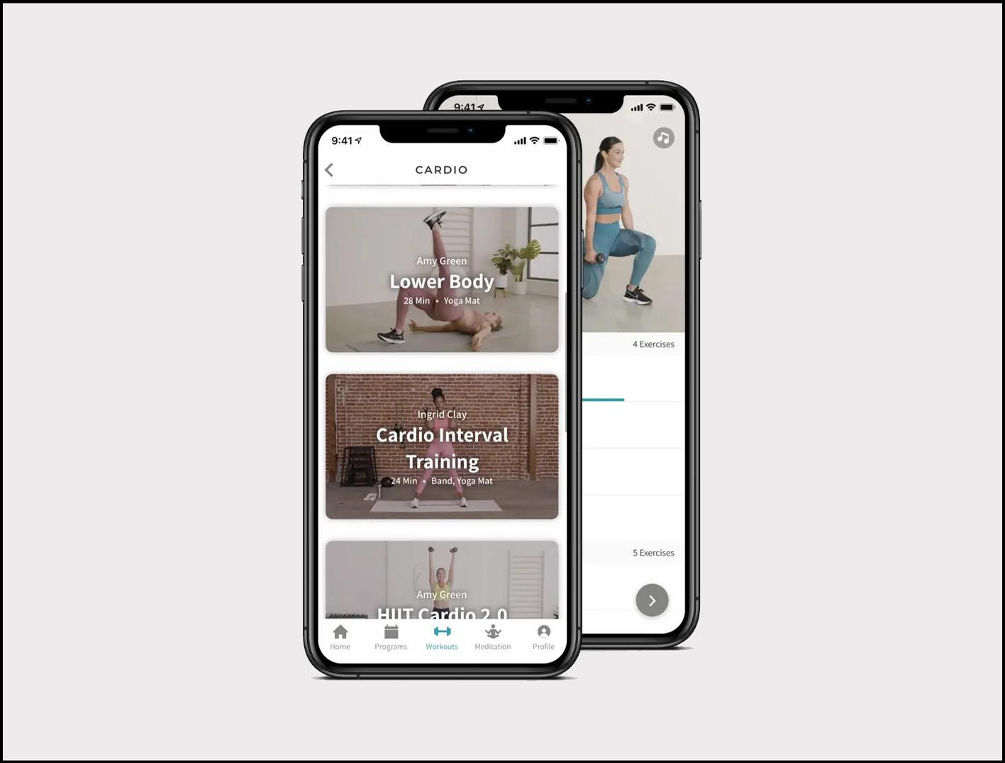 The workout content is accessible via a branded app / Fabletics